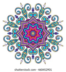 Vector hand-drawn oriental mandala, ethnic doodle mandala with colorful ornament, isolated decorative template, Islam, Arabic, Indian, ottoman motifs, EPS 10