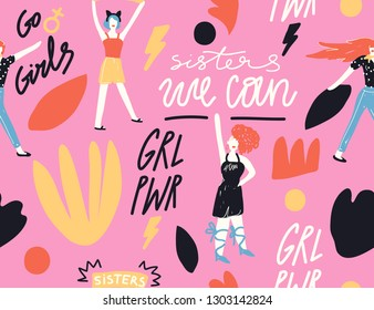 """Vector handdrawn pattern. Illustration of female friends, sisterhood, union of feminists. Concept for prints, t-shirts, cards. Signs """"GIRL POWER"""", """"WE CAN"""", """"SISTERS"""", """"GO GIRLS""""."""
