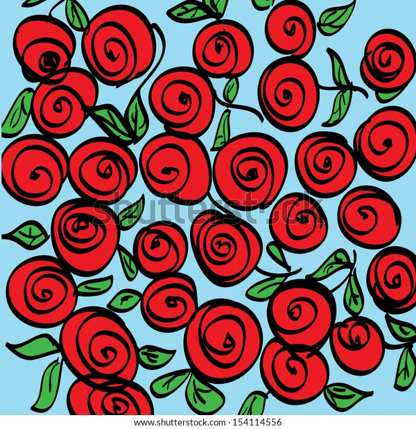 vector hand-drawn pattern with red roses