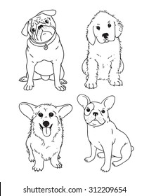 Vector handdrawn pen corgi, pug, french bulldog, retriever, labrador dog puppy illustration