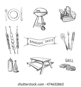 Vector hand-drawn picnic icons on a white background. Attributes for a barbecue party