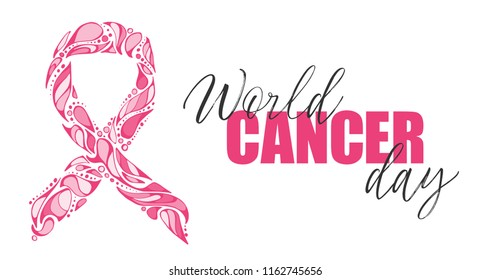 Vector hand-drawn Pink ribbon on white background. Breast cancer awareness month. Banner template