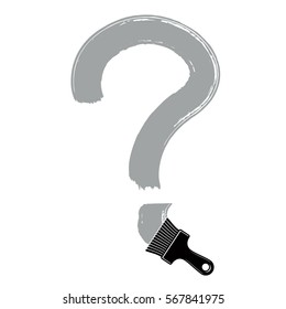 Vector hand-drawn question mark isolated, punctuation mark created with paintbrush. Monochrome conversation symbol made with brushstrokes.