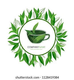 Vector hand-drawn round frame with Cup of tea with leaves logo template design. Tea hand sketch vector illustration. Hand drawn eco design for fabric and wrap paper, packaging- tea, oil, cosmetics etc