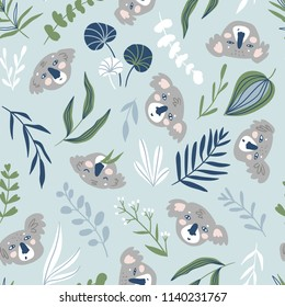 Vector hand-drawn seamless pattern with animals. Repeating background. Koala.