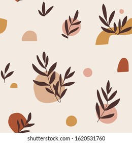 Vector hand-drawn seamless pattern. Contemporary creative repeat background   with abstract shapes and leaves.