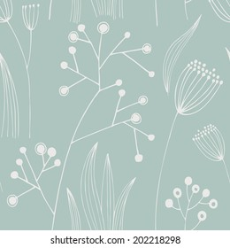 Vector hand-drawn seamless pattern with flower.