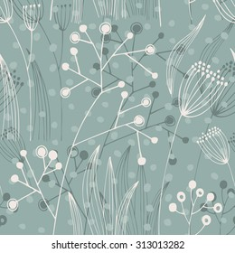 Vector hand-drawn seamless pattern with flowers
