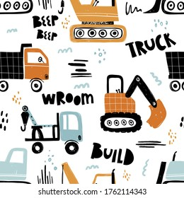 Vector hand-drawn seamless repeating children simple pattern with cars in Scandinavian style on a white background.Kids seamless pattern with building equipment. Funny construction transport