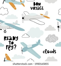 Vector hand-drawn seamless repeating children simple pattern with aircraft, clouds and lettering in Scandinavian style on a white background.Kids seamless pattern with planes. Funny airplanes