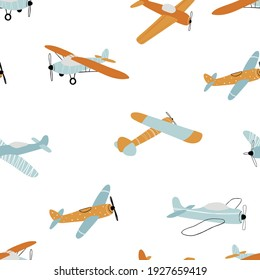 Vector hand-drawn seamless repeating children simple pattern with aircraft in Scandinavian style on a white background.Kids seamless pattern with planes. Funny airplanes. Trendy vector background.