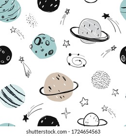 Vector hand-drawn seamless repeating color simple flat pattern with different planets on a white background. Seamless pattern with planets. Space. Mars, Saturn, the moon. Asteroid, meteorite, comet.