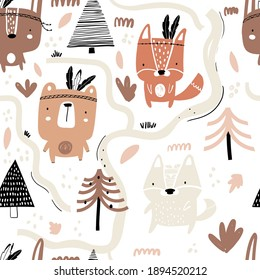 Vector hand-drawn seamless repeating color childish pattern with forest animals, plants and lettering in Scandinavian style on a white background. Scandinavian pattern with animals. Children's print.