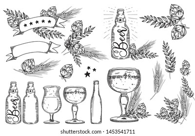 Vector handdrawn set of beer glass, mug, ribbon, bottle, and hop. Vintage vector engraving illustration.