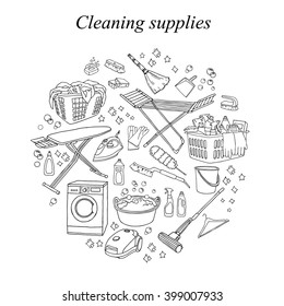 Vector hand-drawn set of cleaning tools. Cleaning service. Cleaning supplies. Doodle illustration. Cleaning products