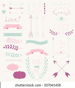 Vector hand-drawn set of romantic elements: hearts, arrows, frames, ribbons