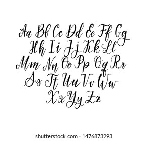 Vector hand-drawn simple thin lettering alphabet. Capitals and lowercase. Doodle calligraphy typeset