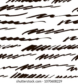 Vector hand-drawn striped seamless pattern made of felt tip pen handwritten strokes.