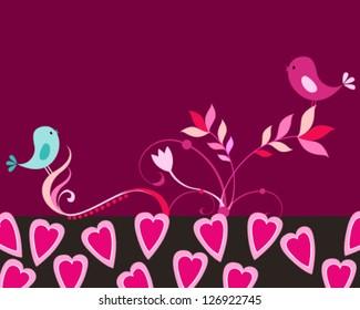 Vector handdrawn style illustration of cute birds in love