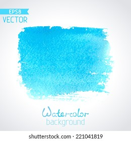Vector hand-drawn watercolour background. Blue square watercolour stroke isolated on white background. There is place for your text.