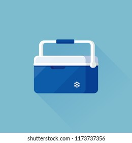 vector handheld refrigerator, ice cooler or freezer box / isolated, circle, sign and icon template