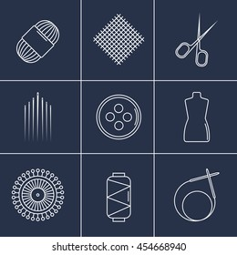 Vector handicraft accessories. Line art set of accessories for sewing and handmade.