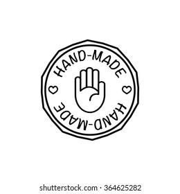 Vector hand-made badge trendy modern style black and white