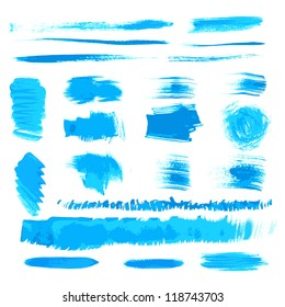 Vector handmade blue strokes set painted by brush