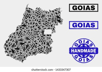 Vector handmade collage of Goias State map and rubber stamp seals. Mosaic Goias State map is made from random hands. Blue seals with corroded rubber texture. Flat design for hand made service posters.