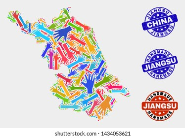 Vector handmade collage of Jiangsu Province map and rubber stamps. Mosaic Jiangsu Province map is designed with randomized bright colorful hands. Rounded seals with corroded rubber texture.