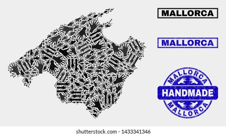 Vector handmade collage of Mallorca map and unclean stamp seals. Mosaic Mallorca map is organized from randomized hands. Blue stamp imprints with unclean rubber texture.