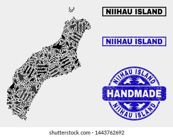 Vector handmade collage of Niihau Island map and corroded stamp seals. Mosaic Niihau Island map is composed of random hands. Blue seals with unclean rubber texture.