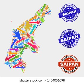 Vector handmade collage of Saipan Island map and textured watermarks. Mosaic Saipan Island map is formed of randomized bright colored hands. Rounded watermarks with corroded rubber texture.