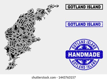 Vector handmade combination of Gotland Island map and rubber watermarks. Mosaic Gotland Island map is organized of randomized hands. Blue watermarks with unclean rubber texture.