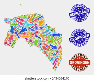 Vector handmade combination of Groningen Province map and scratched seals. Mosaic Groningen Province map is created of scattered bright colored hands. Rounded seals with scratched rubber texture.