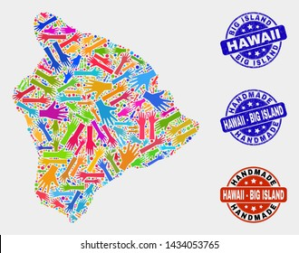 Vector handmade combination of Hawaii Big Island map and rubber stamp seals. Mosaic Hawaii Big Island map is designed of scattered bright colored hands.