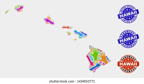Vector handmade combination of Hawaii State map and grunge watermarks. Mosaic Hawaii State map is created of random bright colorful hands. Rounded watermarks with unclean rubber texture.