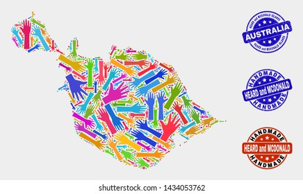 Vector handmade combination of Heard and McDonald Islands map and textured stamp seals. Mosaic Heard and McDonald Islands map is made of random bright colored hands.