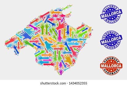 Vector handmade combination of Mallorca map and rubber stamps. Mosaic Mallorca map is done with randomized bright colorful hands. Rounded stamp imprints with scratched rubber texture.