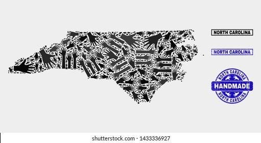 Vector handmade combination of North Carolina State map and grunge watermarks. Mosaic North Carolina State map is designed with randomized hands. Blue seals with grunge rubber texture.