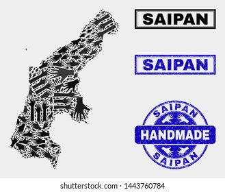 Vector handmade combination of Saipan Island map and textured seals. Mosaic Saipan Island map is formed with scattered hands. Blue stamp imprints with grunge rubber texture.