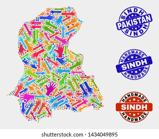 Vector handmade combination of Sindh Province map and rubber seals. Mosaic Sindh Province map is done from randomized bright colorful hands. Rounded seals with unclean rubber texture.