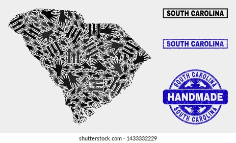 Vector handmade combination of South Carolina State map and rubber seals. Mosaic South Carolina State map is designed with random hands. Blue seals with unclean rubber texture.