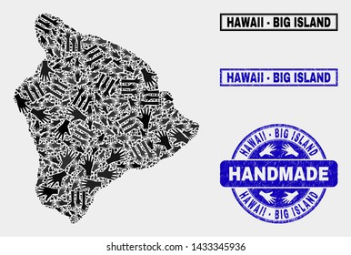 Vector handmade composition of Hawaii Big Island map and scratched seals. Mosaic Hawaii Big Island map is composed from scattered hands. Blue seals with scratched rubber texture.