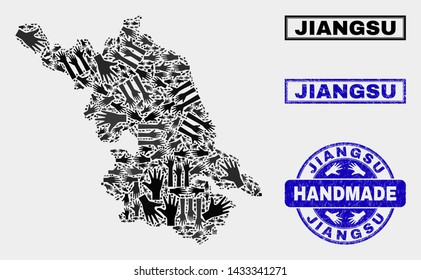 Vector handmade composition of Jiangsu Province map and grunge seals. Mosaic Jiangsu Province map is done with random hands. Blue seals with corroded rubber texture.