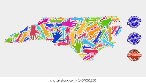 Vector handmade composition of North Carolina State map and corroded seals. Mosaic North Carolina State map is made with random bright colorful hands. Rounded seals with corroded rubber texture.