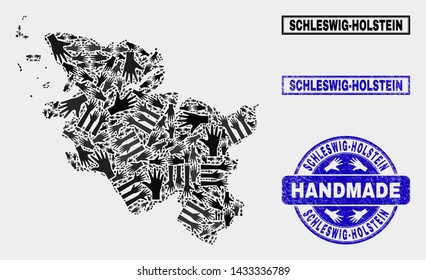Vector handmade composition of Schleswig-Holstein Land map and unclean stamps. Mosaic Schleswig-Holstein Land map is made with randomized hands. Blue stamp imprints with unclean rubber texture.
