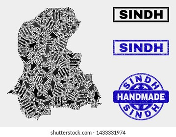 Vector handmade composition of Sindh Province map and grunge stamp seals. Mosaic Sindh Province map is designed of randomized hands. Blue stamp imprints with grunge rubber texture.