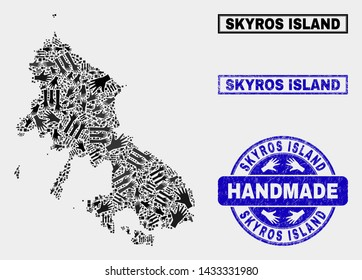 Vector handmade composition of Skyros Island map and corroded seals. Mosaic Skyros Island map is composed of random hands. Blue seals with corroded rubber texture.