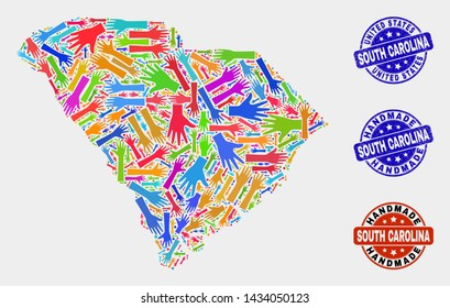 Vector handmade composition of South Carolina State map and rubber watermarks. Mosaic South Carolina State map is made of random bright colorful hands. Rounded watermarks with grunge rubber texture.